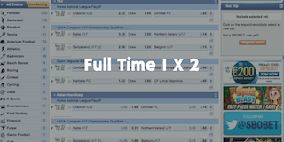 SBOBET full time 1 x 2